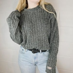 cozy knitted gray sweater pullover
